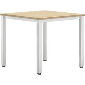 Schreibtisch BEXXSTAR, Quadratrohrfuß, Rechteck, B 800 x T 800 x H 740 mm, Buche-Dekor