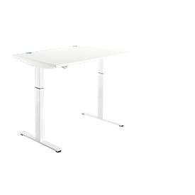 Schreibtisch DRIVE UP 1, T-Fuß, Rechteck, 1-stufig elektr. höhenverstellbar, B 1200 mm, weiß/weiß
