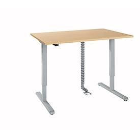 Schreibtisch, elektrisch höhenverstellbar, Rechteck, T-Fuß, B 1200 x T 800 x H 715-1205 mm, Ahorn/weißaluminium + Kabelkanal, Kabelkette