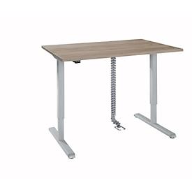 Schreibtisch, elektrisch höhenverstellbar, Rechteck, T-Fuß, B 1200 x T 800 x H 715-1205 mm, Eiche/weißaluminium + Kabelkette, Kabelkanal