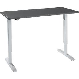 Schreibtisch, elektrisch höhenverstellbar, Rechteck, T-Fuß, B 1300 x T 650 x H 715-1205 mm, graphit/weißaluminium