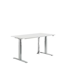 Schreibtisch, elektrisch höhenverstellbar, rechteckig, B 1600 mm, T-Fuß, lichtgrau/weissalu + Kabelspirale, silbergrau