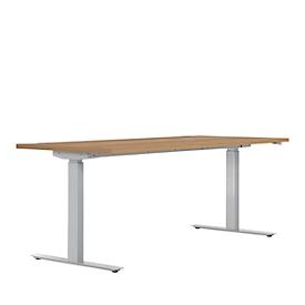Schreibtisch ERGO DRIVE ED 470, elektrisch höhenverstellbar, Rechteck, T-Fuß, B 1800 x T 800 x H 692-1147 mm, Kirsche Romana/weißaluminium RAL 9006