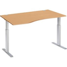 Schreibtisch ERGO-T, elektrisch höhenverstellbar, Freiform, Ansatz links, T-Fuß, B 1800 x T 1000,00/800 x H 725-1185 mm, Buche/weißaluminium