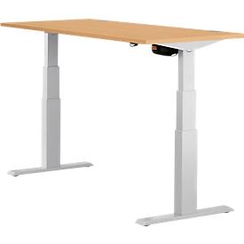 Schreibtisch ERGO-T, elektrisch höhenverstellbar, Rechteck, T-Fuß, B 1200 x T 800 x H 640-1300 mm, Buche/weißaluminium