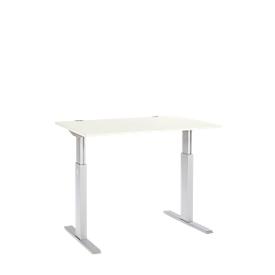 Schreibtisch ERGO-T, elektrisch höhenverstellbar, Rechteck, T-Fuß, B 1200 x T 800 x H 725-1185 mm, weiß/alusilber
