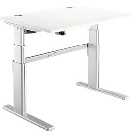 Schreibtisch Komfort, 2-stufig elektrisch höhenverstellbar, B 1200 mm, weiß/weißalu