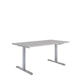 Schreibtisch Multiflex, manuell höhenverstellbar, Rechteck, T-Fuß, B 1200 x T 800 x H 728-1208 mm, lichtgrau/weißaluminium
