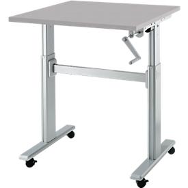 Schreibtisch Multitable, manuell höhenverstellbar, Quadrat, T-Fuß, B 800 x T 800 x H 708-1118 mm, lichtgrau/weißaluminium