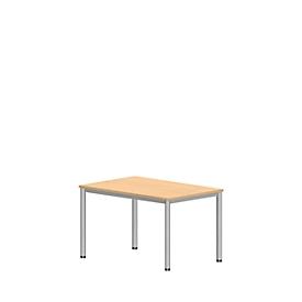 Schreibtisch NEVADA, 4-Fuß, Rechteck, Rundrohr, B 1200 x T 800 x H 740 mm, Buche-Dekor/alusilber