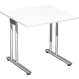 Schreibtisch PALENQUE, C-Fuß, Rechteck, B 800 x T 800 x H 680-820 mm, weiß