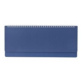 Schreibtisch-Querkalender, 112 Seiten, Wire-O-Bindung, B 305 x H 135 mm, Werbedruck 280 x 20 mm, blau, Auswahl Werbeanbringung optional