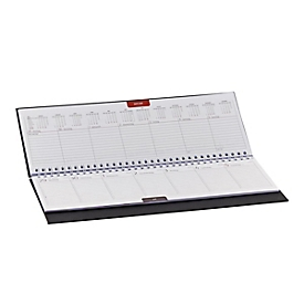 Schreibtisch-Querkalender Sidney, 128 Seiten, Wire-O-Bindung, B 300 x H 140 mm, Werbedruck 250 x 15 mm, blau, Auswahl Werbeanbringung erforderlich