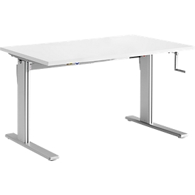 Schreibtisch Standard, manuell höhenverstellbar, Rechteck, C-Fuß, B 1200 x T 800 x H 728-1188 mm, lichtgrau/weißaluminium