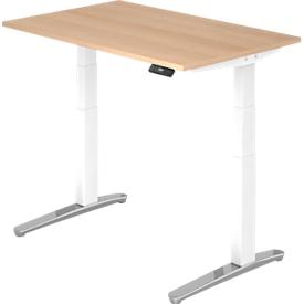 Schreibtisch TOPAS LINE, elektrisch höhenverstellbar, Rechteck, C-Fuß, B 1200 x T 800 x H 650-1300 mm, Eiche/weißalu + Memoryschalter