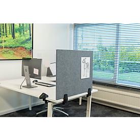 Schreibtisch Trennwand, magnet. Whiteboard & Akustik-Pinboard, Emaille & Filz, B 750 x H 580 mm, für Einzelschreibtische
