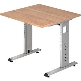 Schreibtisch ULM, C-Fuß, Rechteck, B 800 x T 800 x H 650-850 mm, Nussbaum-Dekor