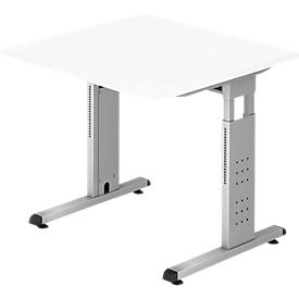 Schreibtisch ULM, C-Fuß, Rechteck, B 800 x T 800 x H 650-850 mm, weiß
