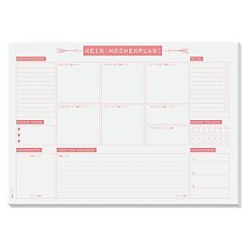 Schreibtischunterlage Sigel Mein Wochenplan, A3, Papier, 30 Blatt, Einkaufsliste uvm., weiß/rosa