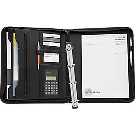 Schrijfmap, A4, 8 vakken, uitneembaar ringmechanisme, incl. zakrekenmachines kunstleder, zwart
