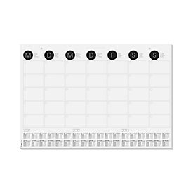 Schrijfonderlegger Sigel maandoverzicht, ca. DIN A2, 3-jaar-kalenderrooster, 12 vellen, ook te gebruiken als wandkalender, z/w