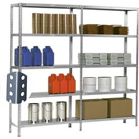 Schroefstelling Fix profiel 1, complete stelling 2 m, 1 basis- en 1 aanbouwsectie incl. 10 legborden, gegalvaniseerd, H 1920 x B 2000 x D 300 mm