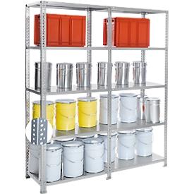 Schroefstelling Fix profiel 2, complete stelling 2 m, 1 basis- en 1 aanbouwsectie incl. 10 legborden, gegalvaniseerd, H 1920 x B 2000 x D 300 mm