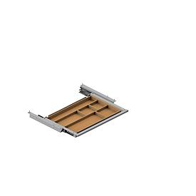 Schublade für elektrisch höhenverstellbaren Schreibtisch Elements, Metall mit Bambus-Inlay, B 424,6 x T 264,5 x H 36,5 mm, silber