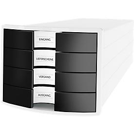 Schubladenbox HAN Impuls 2.0, 4 Schubladen, Format A4, stapelbar, geschlossen, weiß/schwarz