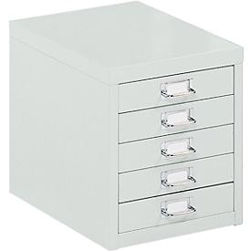 Schubladenschrank DIN A4, mit 5 Schubladen, 330 mm hoch, lichtgrau