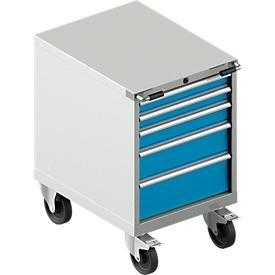 Schubladenschrank mit Rollen WSK 27-36, 5 Schübe, bis 75 kg, B 564 x T 725 x H 920 mm, lichtgrau/lichtblau