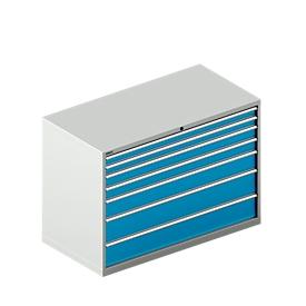 Schubladenschrank WSK 78–36 E, Stahl, 7 Schübe, 75 kg Traglast, B 1431 mm x T 725 mm x H 1000 mm, lichtgrau/lichtblau