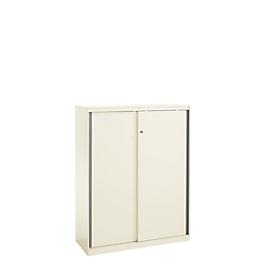 Schuifdeurkast, afsluitbaar, met greeplijsten, staal, wit RAL 9010, 950 x 1215, 3 ordnerhoogten