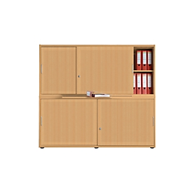 Schuifdeurkast, akoestische wand, B 1600 mm, 4 ordnerhoogten, beukenpatroon