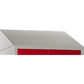 Schuin dak voor kledinglocker, B 630 mm, lichtzilver