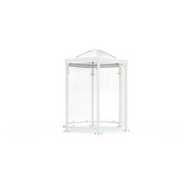 Sechseck-Raucherpavillon Modell Paris, grauweiß RAL 9002