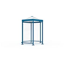 Sechseck-Raucherpavillon Modell Paris (o. Seitenwände), enzianblau RAL 5010