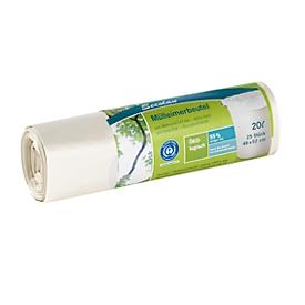 Secolan® Mülleimerbeutel, Material Recycling-Polyethylen, 20 Liter, weiß, 25 Stück