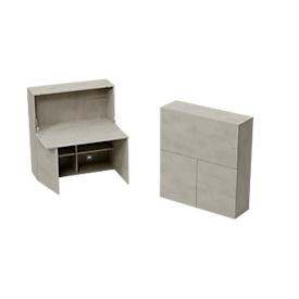Secretaire voor thuiskantoor, tafelblad B 1200 x H 600 mm, kabelopeningen/systeemrail/opklapbaar vak, B 1200 x D 380 x H 1320 mm, hout, Ceramisch grijs