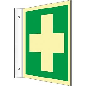 Señal de la bandera con el símbolo de primeros auxilios