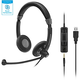 Sennheiser headset SC 75 USB MS, dubbele aansluitingen, kabelaansluiting, stereogeluid