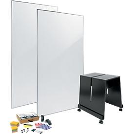 Set de pizarra blanca sigel MUB03, de 4 piezas, 2 pizarras An 900 x Al 1800mm, 1 soporte móvil y juego variado de herramientas