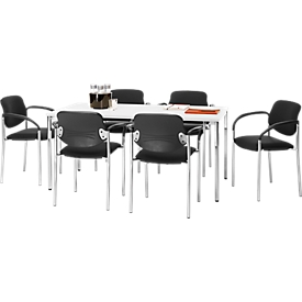 Set Konferenztisch B 1600 x T 800 mm + 6 stapelbare Besucherstühle Styl mit Armlehnen & Stoffbezug, Konferenztisch weiß