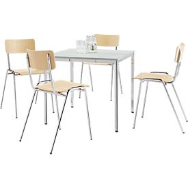 Set van 4 houten stoelen met  verchroomde voeten + 1 tafel 800 x 800 mm, lichtgrijs