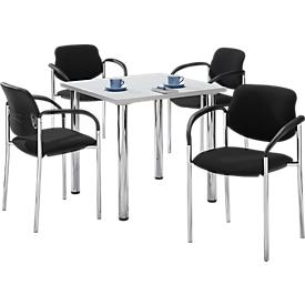 Set van 4 stoelen STYL, zwart + 1 tafel 800 x 800 mm, lichtgrijs