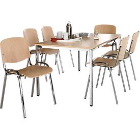 Set van 6 ISO WOOD  houten stoelen met verchroomde voeten + 1 tafel 1600 x 800 mm, beuken