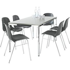 Set van 6 stoelen BETA, antraciet + 1 tafel 1600 x 800 mm, lichtgrijs
