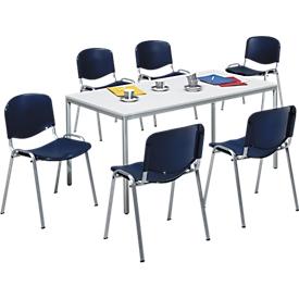 Set van 6 stoelen ELYEKO, blauw + 1 tafel 1600 x 800 mm, lichtgrijs