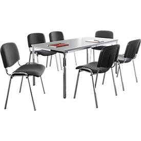 Set van 6 stoelen ISO BASIC, antraciet stof + 1 tafel 1600 x 800 mm, lichtgrijs