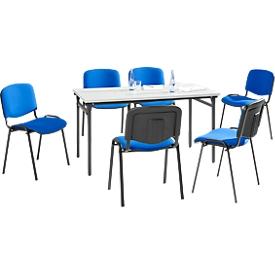 Set van 6 stoelen ISO BASIC, blauwe stof + 1 tafel 1600 x 800 mm, lichtgrijs